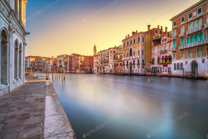 Venice grand canal at sunrise. Long exposure. Italy