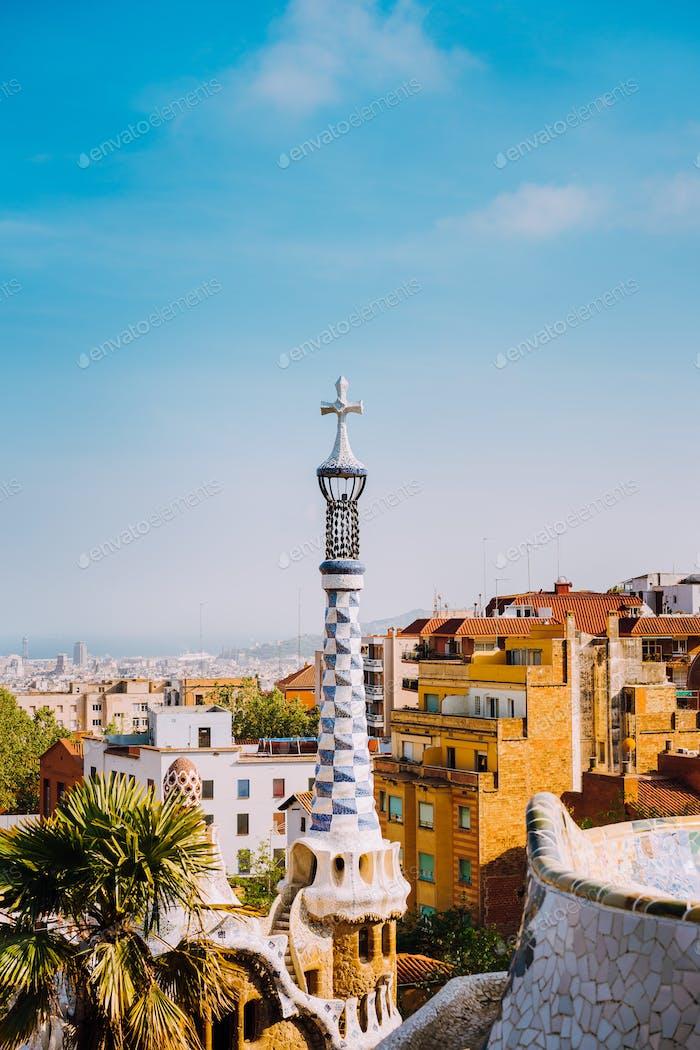 Park Guel, Barcelona, Spain. Famous example of unique mosaic architecture Building. Tourist most