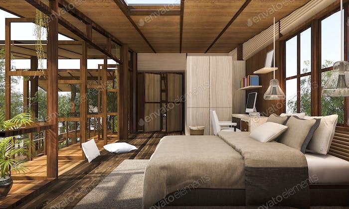 3D Rendering zeitgenössisches Holz Schlafzimmer mit Balkon