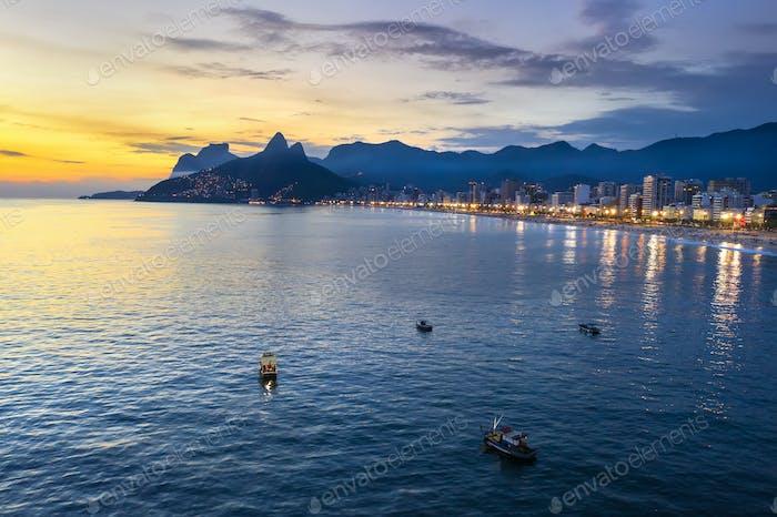 Beautiful panorama of Rio de Janeiro at twilight, Brazil