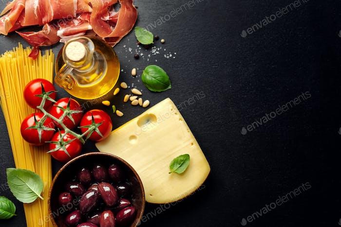 Fondo gastronómico italiano con comida