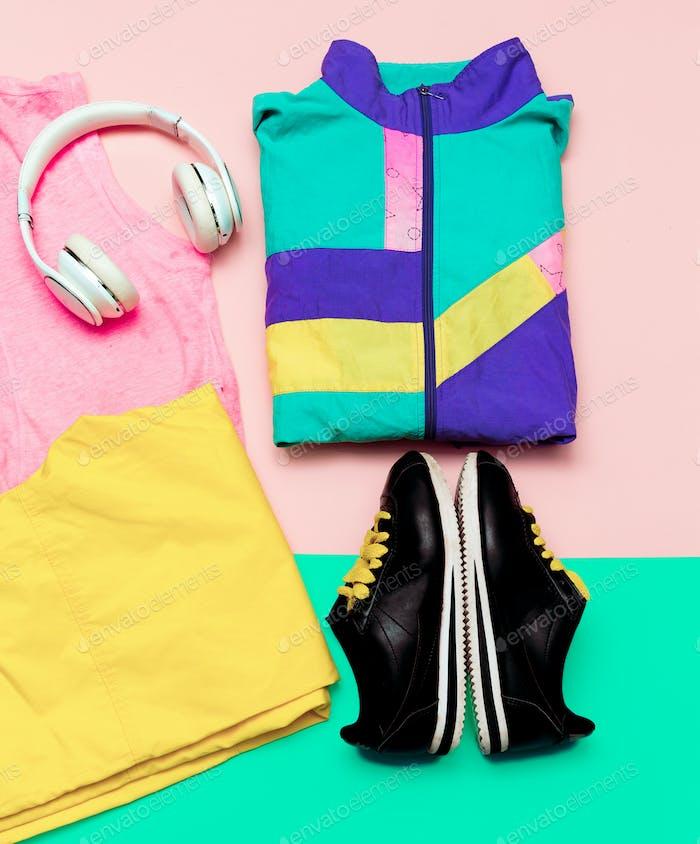 Vanilla Sport Outfit Windbreaker Sneakers Active Headphones urba
