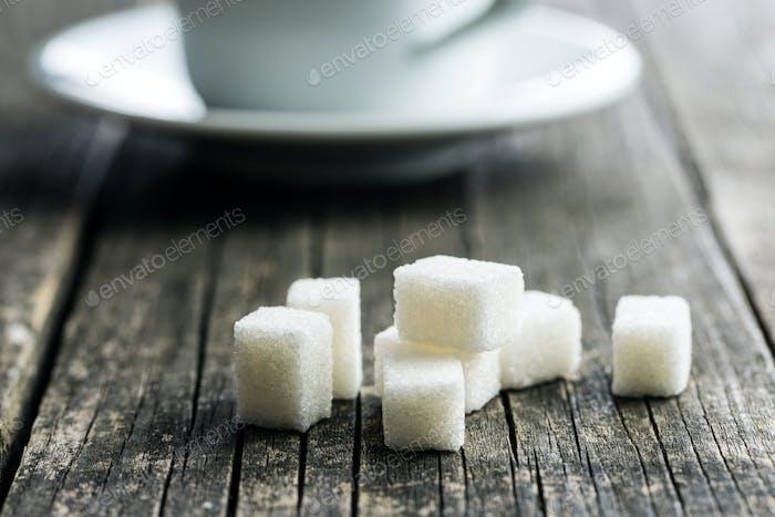 White sugar cubes.