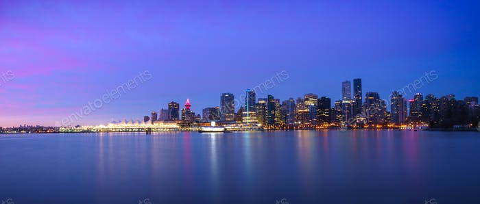Panoramic view of Vancouver Skyline at Sunrise