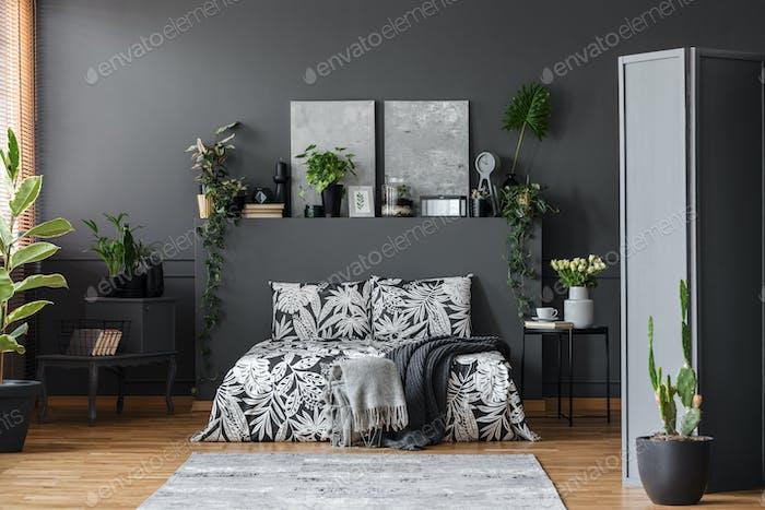 Grey floral bedroom interior