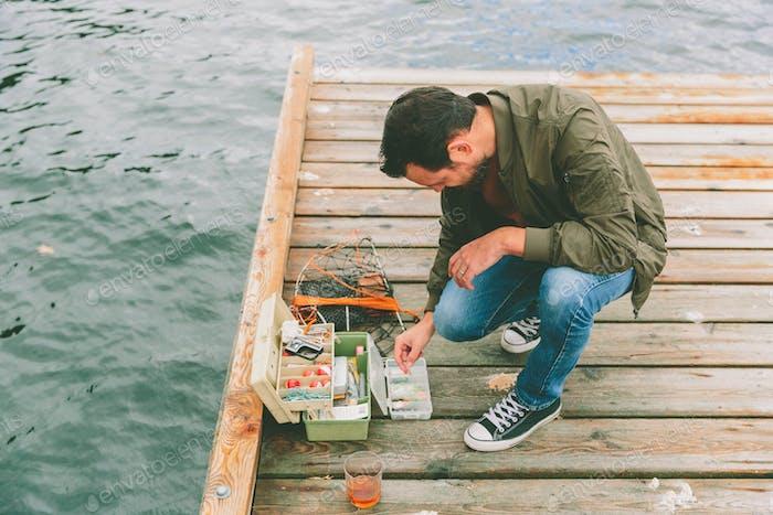 Man Preparing to go Fishing