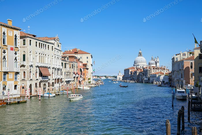 Grand Canal in Venice wide angle view with Saint Mary of Health in Italy