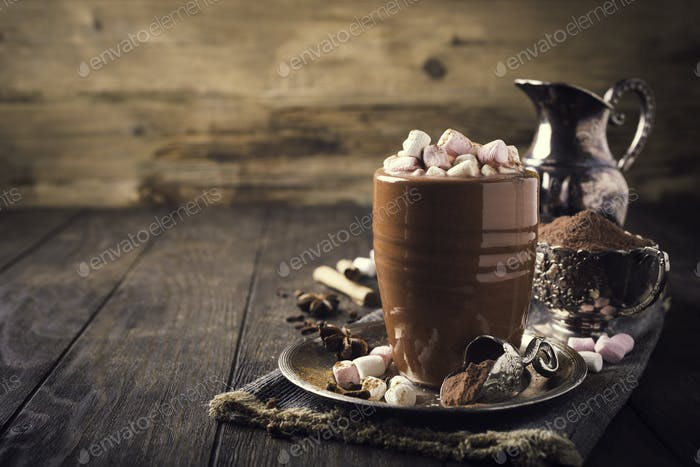 Cup of hot chocolate with mini marshmallows