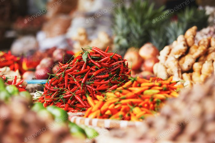 Red chili on the street market