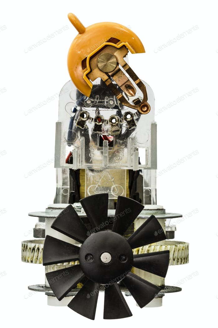Small electric motor with fan, isolated on white background