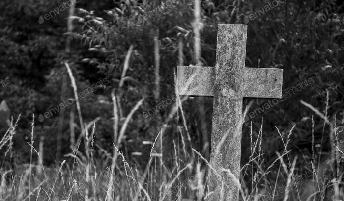 Ein Steinkreuz im Wald