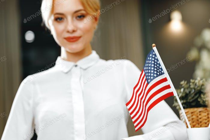 Portrait of beautiful blonde woman hotel receptionist