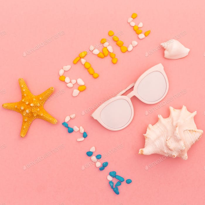 Beach style. Shells. Sunglasses. Minimal art fashion design