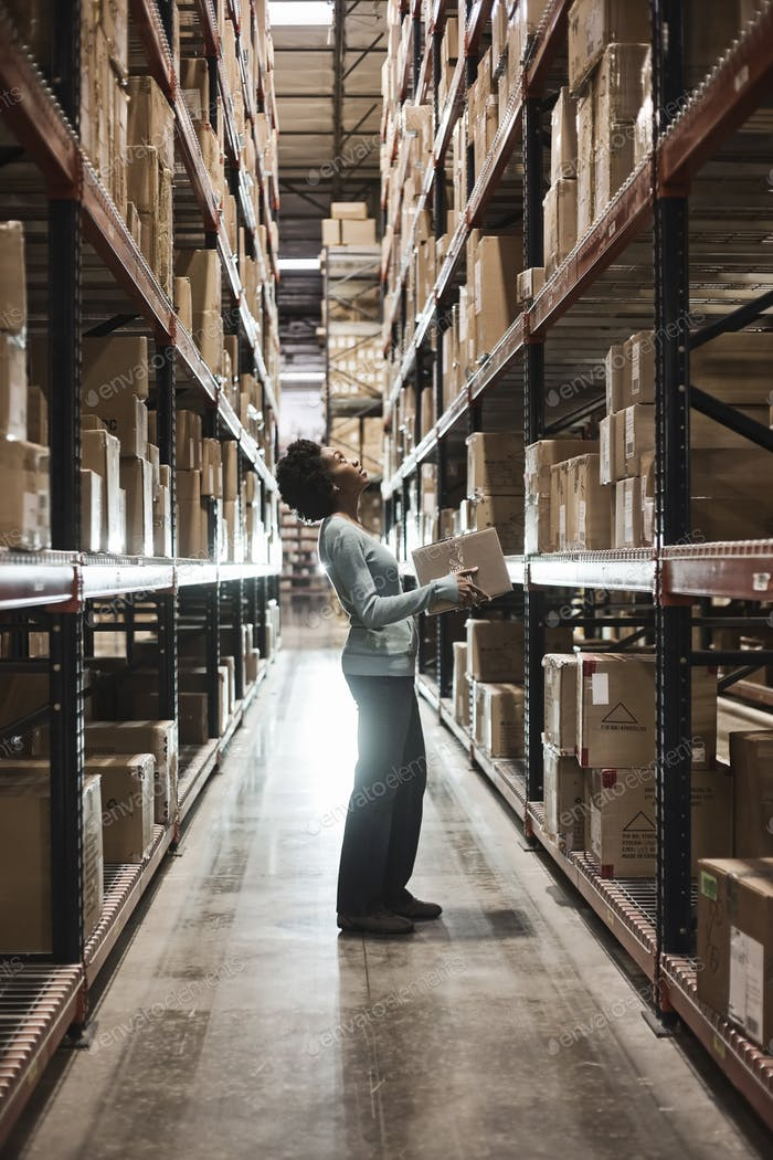African American female warehouse worker checking inventory and carrying a box in an aisle of