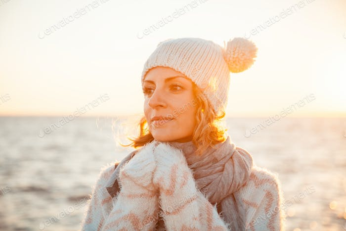 Woman in knitted clothes