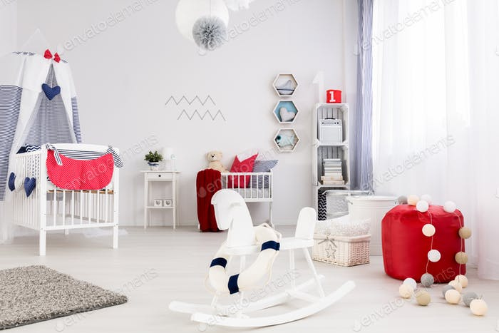 Baby room with strong color accents