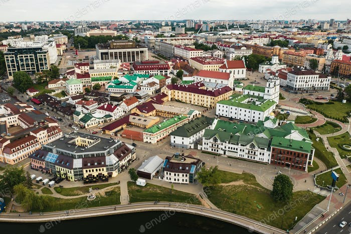 Panoramic view of the historical center of Minsk.Old town in the center of Minsk.Belarus