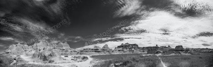 black and white badlands panorama