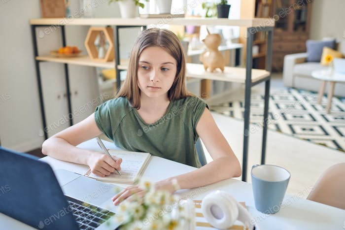 Serious girl looking at laptop display while taking part in online discussion