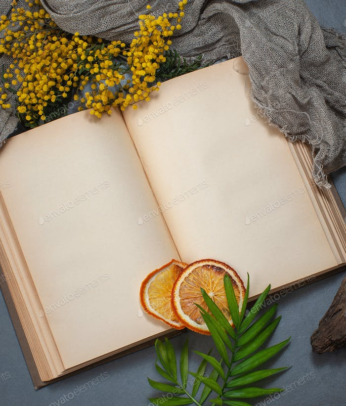 An open book with old blank pages and floral decorations. Backgr