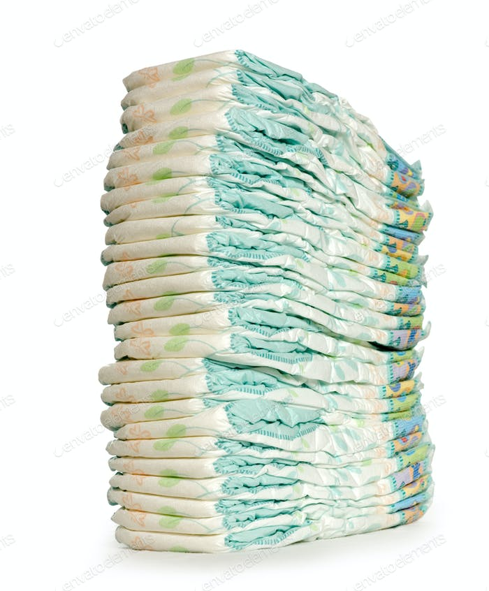 Stack of Diapers at the nursery