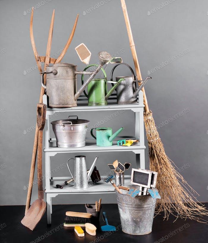 Assortment of vintage gardening tools