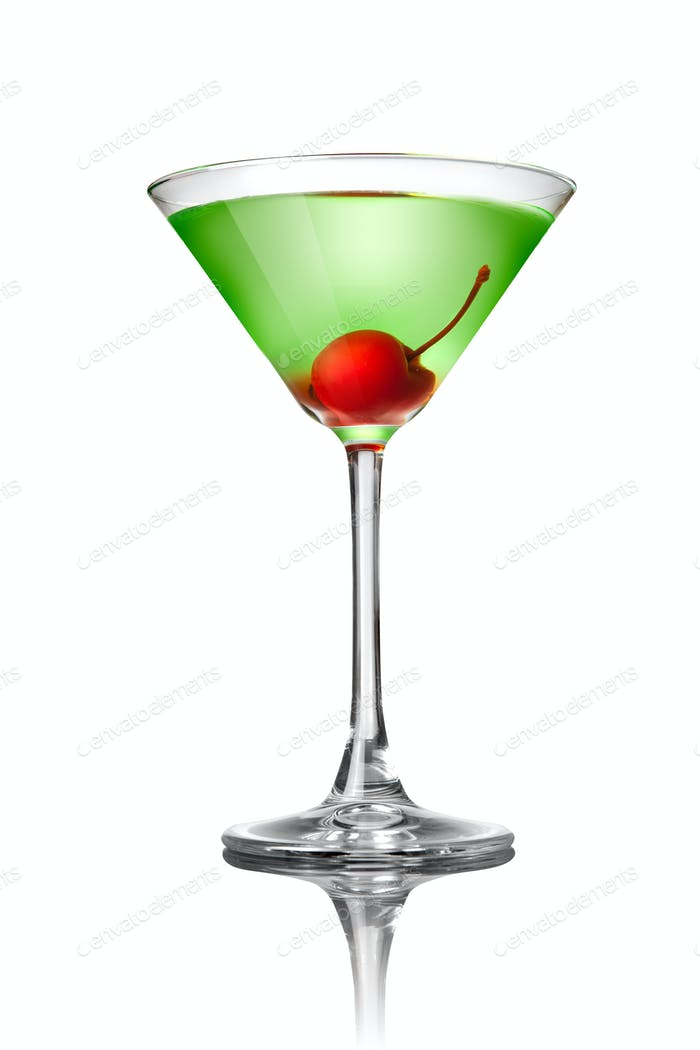 Green martini cocktail isolated on white