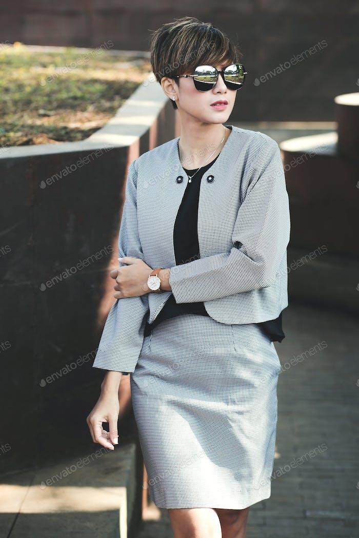 Short Hair Business Woman