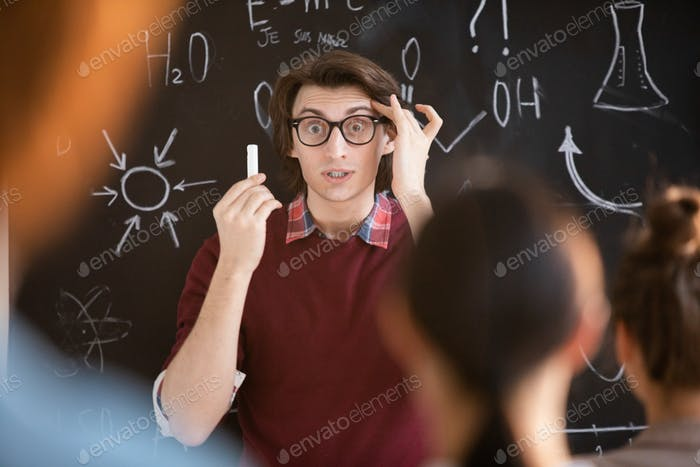 Astonished teacher