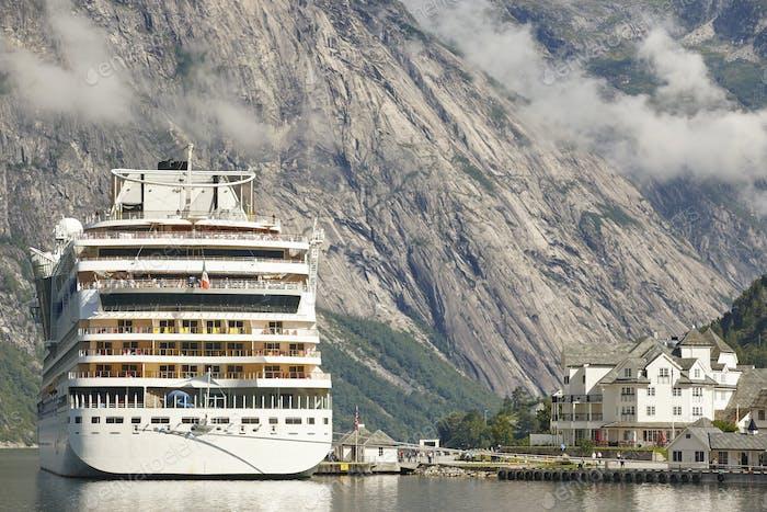 Norwegian fjord landscape. Cruise travel. Eidfjord village. Visit Norway. Tourism
