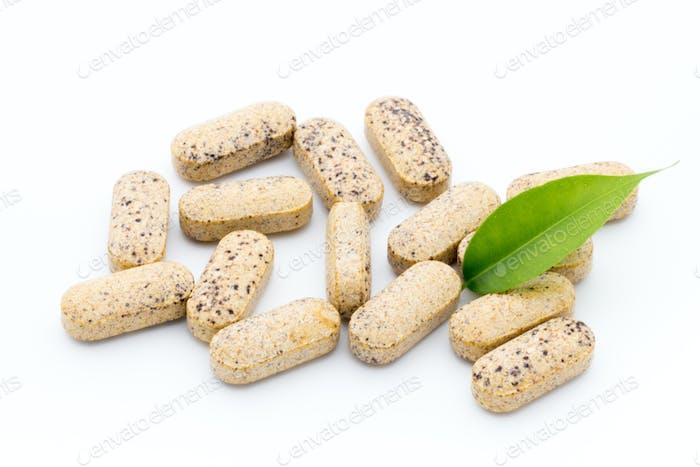 Alternative Medicine. Vitamin capsules. Homeopathic supplement.