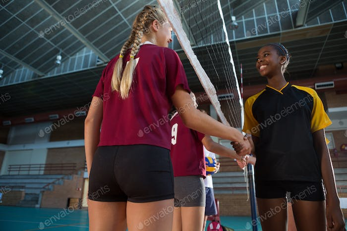 Female players shaking hands after match