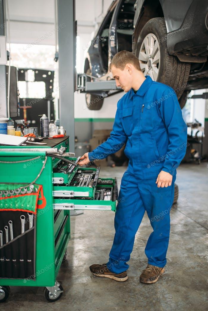 Reparaturmann greift nach dem Schraubenschlüssel im Werkzeugkasten