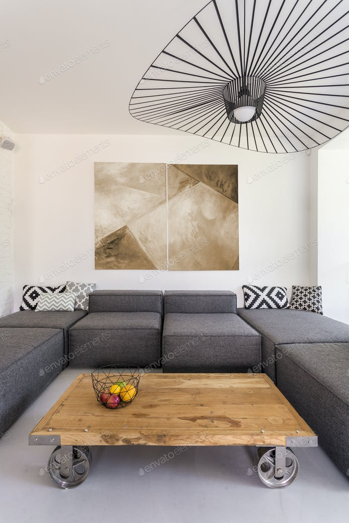 Modern room with wooden coffee table