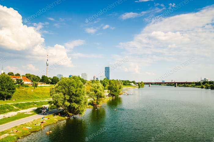 View at Danube island in Vienna