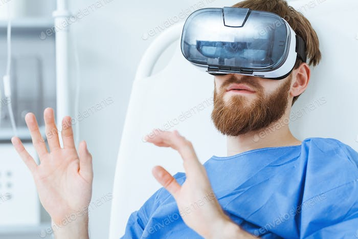 Patient in VR goggles