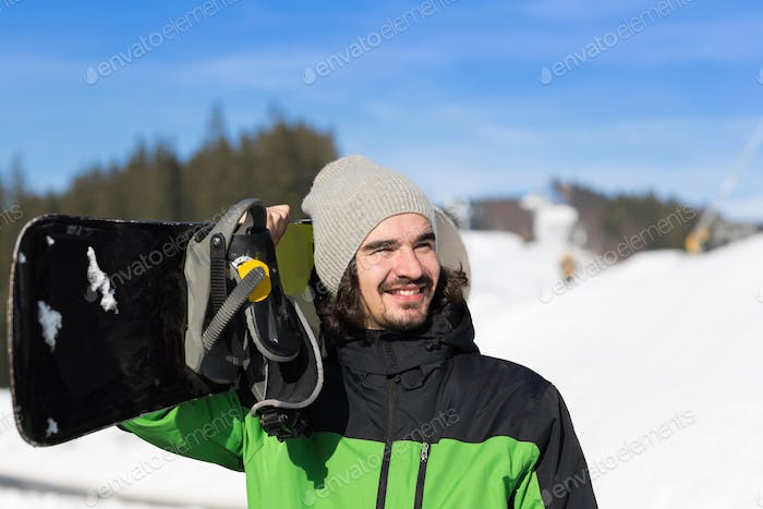 Man Tourist Snowboard Ski Resort Snow Winter Mountain Happy Smiling Guy On Holiday