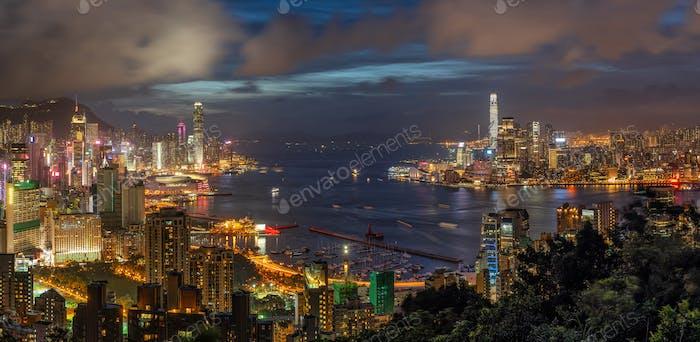 Panorama Hong Kong Cityscape skyscraper at twilight time, Hong Kong central and Kowloon island