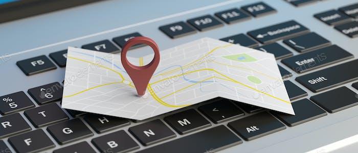 Kartenzeiger Position auf einem Laptop. 3D Illustration
