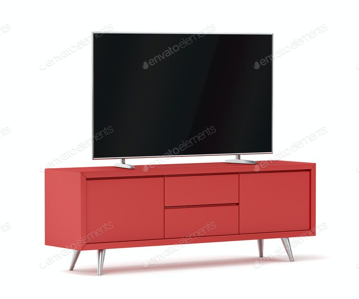 Red modern tv cabinet and big flat screen tv