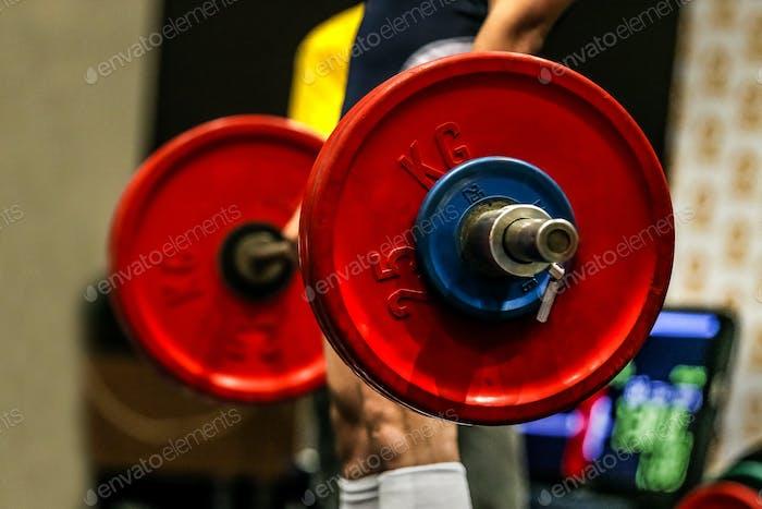 Powerlifter exercise deadlift barbell