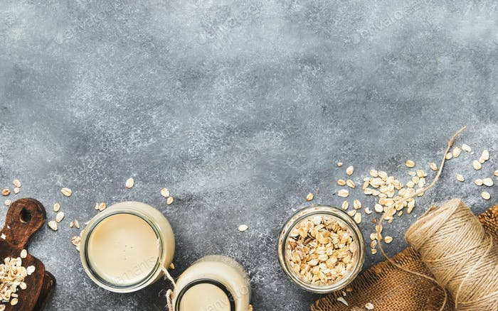 Vegan oat flakes milk, non dairy