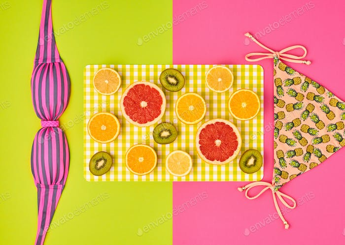 Fashion Design. Tropical Summer Set. Bright Color