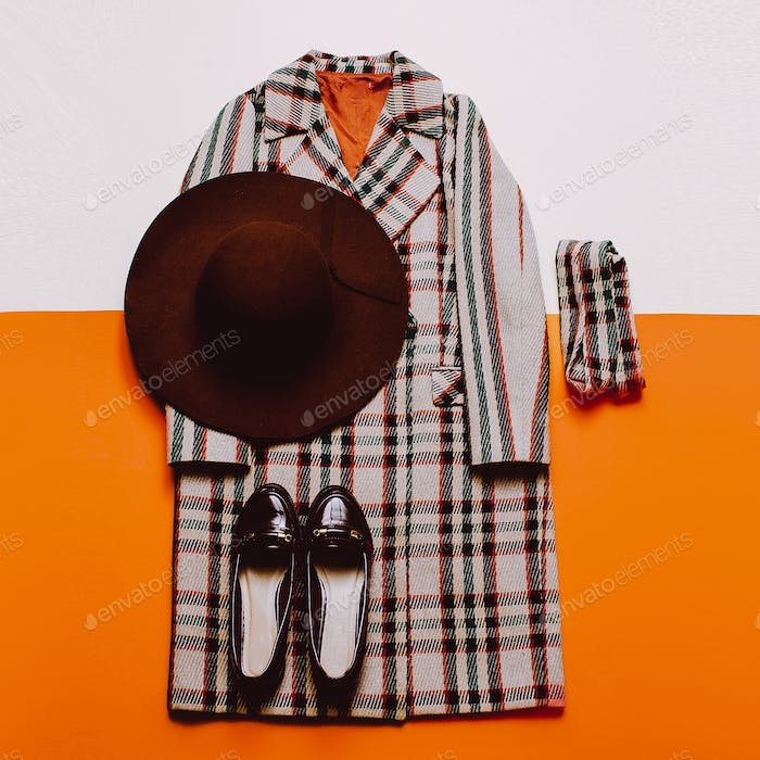 checkered Coat and accessories. Fashionable hat. Fashion Vintage