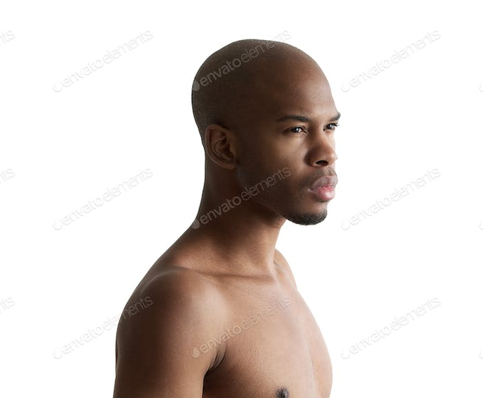 Portrait of a handsome young shirtless man