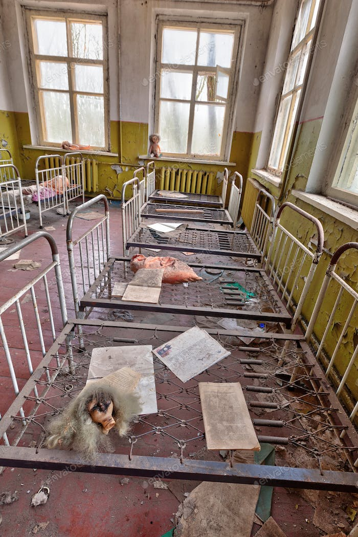 Ruined kindergarten in Chernobyl