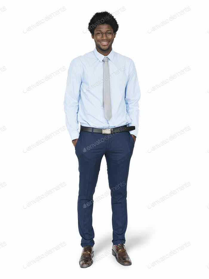 Black businessman standing mockup