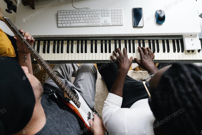 Artists producing music.