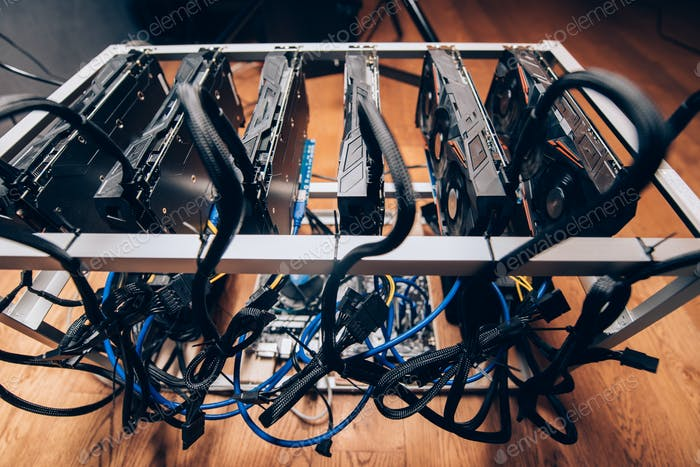 cryptocurrency mining rig. details of graphics card mining rig with power supply