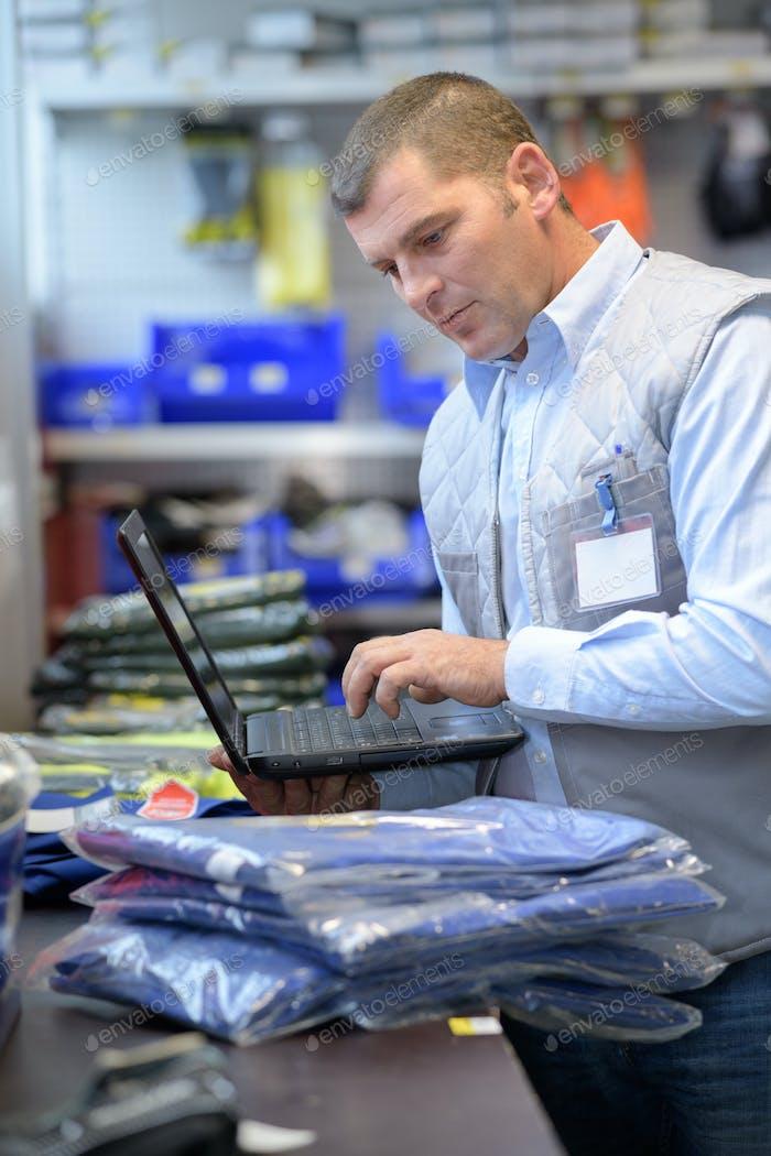 Worker using laptop